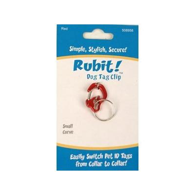 Rubit! Curved Dog Tag Clip, Red, Small