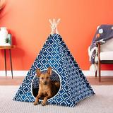 P.L.A.Y. Pet Lifestyle and You Teepee Tent Covered Cat & Dog Bed, Moroccan Navy