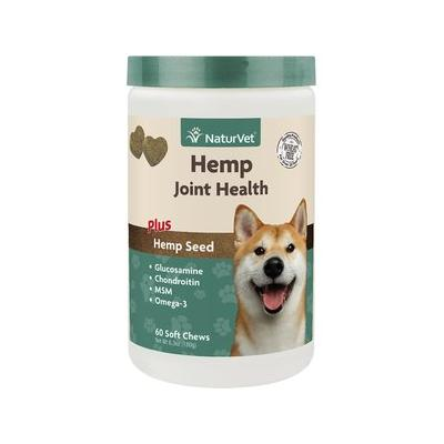 NaturVet Hemp Joint Health Plus Hemp Seed Soft Chews Dog Supplement, 60 count