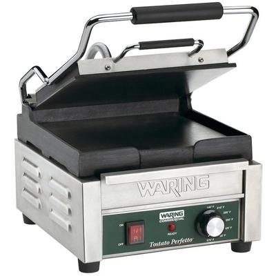 """Waring WFG150 Tostato Perfetto Smooth Top & Bottom Panini Sandwich Grill - 9 3/4"""" x 9 1/4"""" Cooking Surface - 120V, 1800W"""