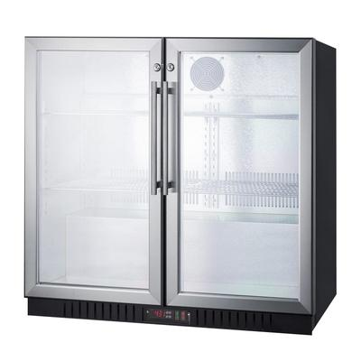 Summit SCR7012DB 35.5 Bar Refrigerator - 2 Swinging Glass Doors, Stainless, 115v on Sale