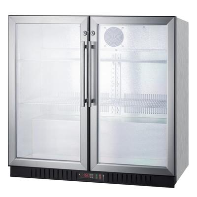 Summit SCR7012DBCSS 36 (2) Section Bar Refrigerator - Swinging Glass Doors, 115v on Sale