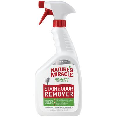 Nature\'s Miracle Stain and Odor Remover is tough on pet urine, feces, vomit, drool and other organic stains and odors. The bacteria-based formula produces enzymes to target spot stains and odors while freshening with a light citrus scent. When used as...