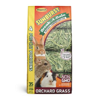 Higgins Sunburst Break-A-Bale Compressed Hays are natural, healthy and essential sources of fiber and roughage for your companion rabbit, guinea pig, chinchilla or other small animal.