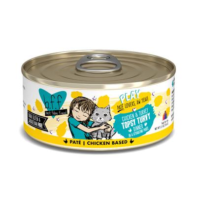 B.F.F. P.L.A.Y. Topsy Turvy Chicken & Turkey Dinner in a Hydrating Puree Wet Cat Food, 5.5 oz., Case of 8, 8 X 5.5 OZ