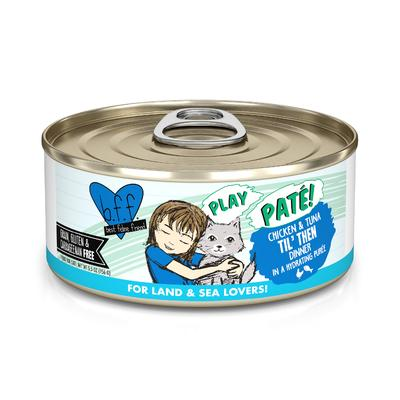 B.F.F. P.L.A.Y. Til' Then Chicken & Tuna Dinner in a Hydrating Puree Wet Cat Food, 5.5 oz., Case of 8, 8 X 5.5 OZ