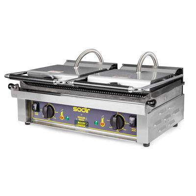 Equipex MAJESTIC Double Commercial Panini Press w/ Cast Iron Grooved Plates, 208 240v/1ph on Sale