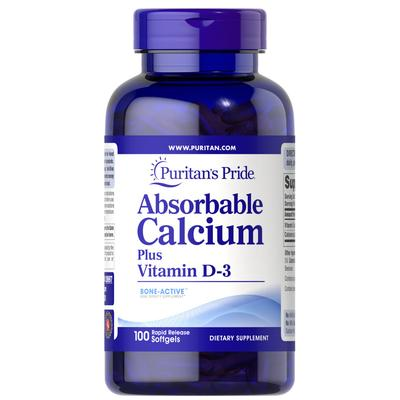 Puritan's Pride Absorbable Calcium Plus Vitamin D-3-100 Softgels