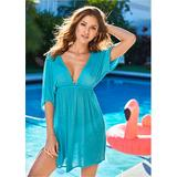 Deep V Cover-Up Tunic Cover-ups - Green/Blue