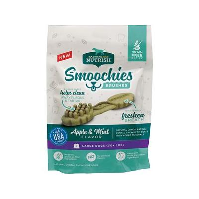 Rachael Ray Nutrish Smoochies Brushes Natural Apple & Mint Large Dental Dog Treats, 5-oz bag