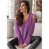 Cold Shoulder Sweater Sweaters - Purple