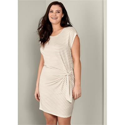 """Plus Size Striped TIE Dress Loungewear - Neutral"" on Sale"