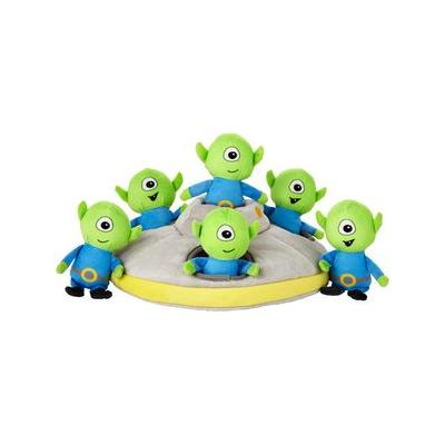 Frisco Hide and Seek Plush Flying Saucer Puzzle Dog Toy; Let the games begin! This plush puzzle toy comes with a soft flying saucer and six squeaky martians for some hide-and-seek fun. Stuff them in the saucer and watch your pup pull them out one by...