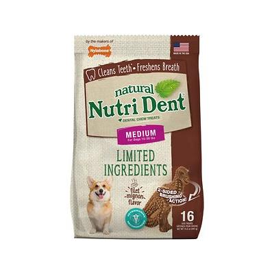 Nylabone Nutri Dent Limited Ingredients Filet Mignon Natural Dental Dog Chew Treats, Medium, T-Rex 16 count