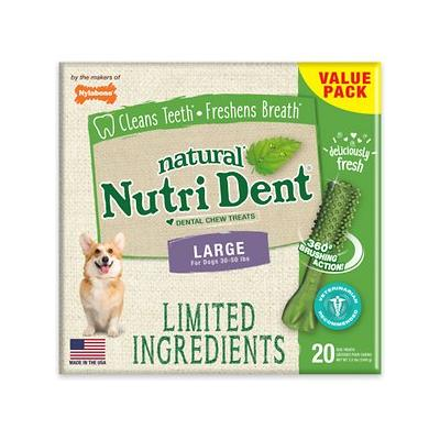 Nylabone Nutri Dent Limited Ingredients Fresh Breath Natural Dental Dog Chew Treats, Large, 20 count
