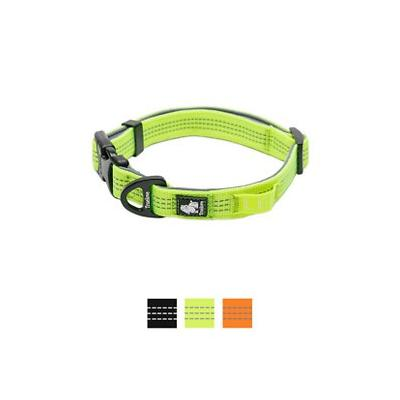 Chai\'s Choice Outdoor Adventure 3M Reflective Dog Collar, Neon Yellow, Small; Get your adventurous sidekick equipped for your next expaw-dition with Chai's Choice Outdoor Adventure 3M Reflective Dog Collar! This easy-to-use, snap-on collar is specially...