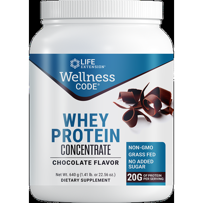 Wellness Code® Whey Protein Concentrate , Chocolate, 640 grams , 1.41 lb or 22.56 oz